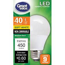 Walmart Great Value Led Light Bulbs Great Value Led Light Bulb 5w 40w Equivalent Soft White 1 Count Walmart Com