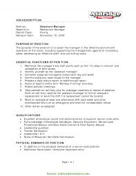 Assistant Manager Job Description Resume
