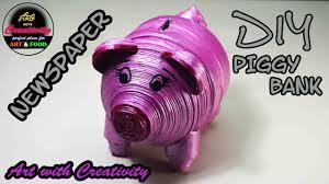 Diy Alkansya Design Newspaper Piggy Bank Diy Made With Newspaper Art With Creativity 175