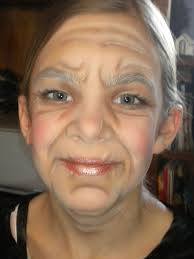 this 11 year old wears a lot of makeup to look like granny in little