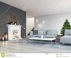 Het 3d Teruggeven Huis Met Open Haard In Moderne Flat De Decoratie