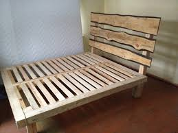 witching rustic wooden bed design feature brown wooden bed frames and brown solid wood headboard