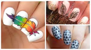 Feather Inspired-Feather Nail Art Designs - Nail Art Scoop