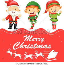 Christmas Card Template With Santa And Elf