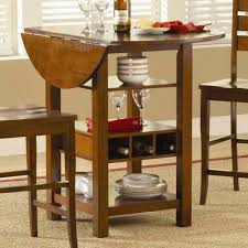 Small Round High Top Drop Leaf Kitchen Table With Storage For Saving Small  Kitchen Spaces Ideas