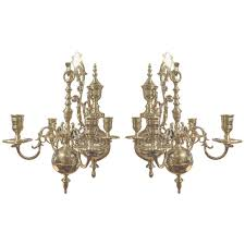19th century pair of four brass candle chandelier wall sconces for in wall chandelier