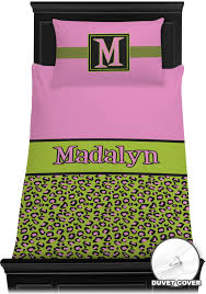 pink lime green leopard duvet cover set personalized