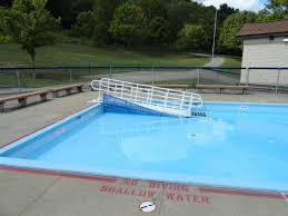 image of dog ramp for above ground pool install