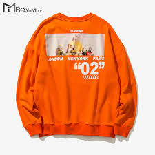 Be.YuMiao orange <b>Hoodies</b> 2018 Inked <b>Graffiti</b> Printed <b>man Pullover</b> ...