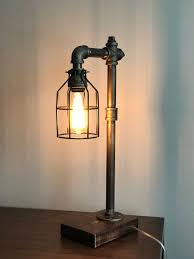 industrial pipe lighting. Industrial Lighting - Steampunk Lamp Table Edison Light Vintage Pipe Bedside Rustic Bulb Cage