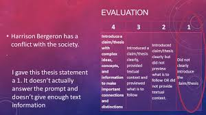 do now turn in your self reflection sheet give your partner review evaluation harrison bergeron has a conflict the society