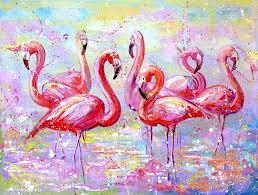 pink flamingo painting flamingo wall