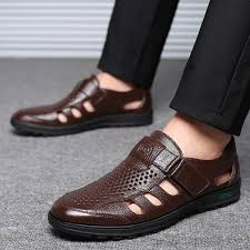 hot summer men s large size hollow leather sandals hole breathable casual men s shoes slip