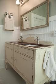 antique dining buffet used as bathroom vanity
