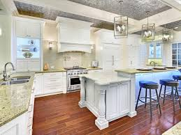 White Kitchens With Wood Floors Awesome Traditional White Kitchen White Granite Countertop Black