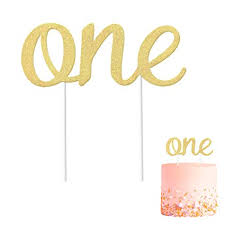 Amazoncom 1st Birthday One Cake Topper Gold Glitter Double Sided