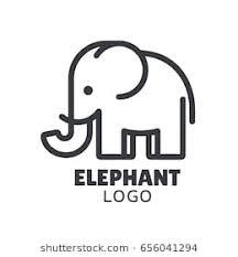 simple and minimal elephant logo ilration modern vector line icon