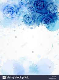 Wedding Invitation Background Blue Template Background With Watercolored Abstract Floral Roses