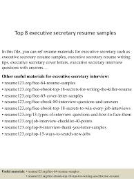 Secretary Resume Simple Top 28 Executive Secretary Resume Samples