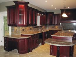 kitchen cabinets with granite countertops:  kitchen elegant these dark cherry kitchen cabinets look gorgeous with the granite image of at set
