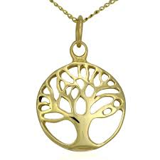 details about solid 9ct gold tree of life pendant charm necklace chain jewellery gift set 9k