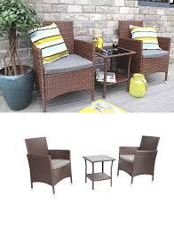 baner garden 3 pieces outdoor furniture complete patio cushion pe wicker rattan garden dining set full brown q16