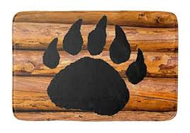 yesstd bear paw and logs absorbent super cozy bathroom rug doormat welcome mat indoor outdoor bath floor rug decor art print with non slip backing 24 l x