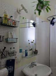bathroom pegboard wall