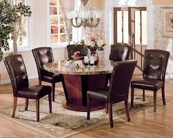 bologna brown marble top round dining table set pu leather