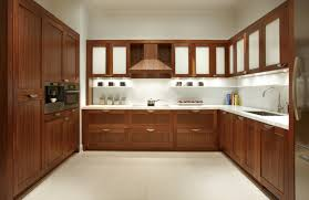 outstanding u shaped mahogany cabinets system for modern kitchen furnishings ideas added white glass countertop and built in cabinetry ideas