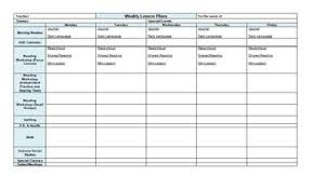 One Page Weekly Lesson Plan Template Horizontal