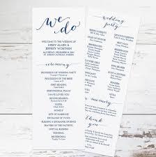 Printable Wedding Program Templates Printable Navy Wedding Program Template Rustic By Karlykdesignshop