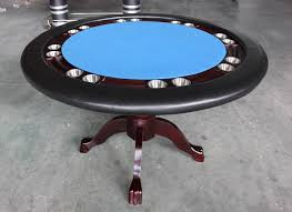 table mahogany 52 round texas holdem game table solid wood blue green