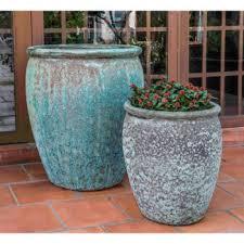 ceramic tall bowl planters verdigris