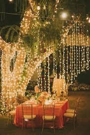 outdoor wedding hanging string bistro lights