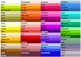 Color Chart With Names List Of Colors In 2019 Color Names Chart Colour