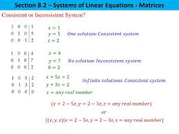 section 8 2 systems of linear equations matrices consistent or inconsistent system