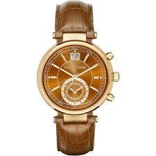 michael kors las sawyer chronograph brown leather watch