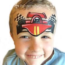 race car face painting for boys