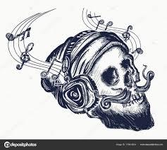 человеческий череп тату и футболку дизайн череп бородатый