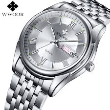 high quality whole watch luminous dial from watch luxury brand men watches men s quartz date luminous clock male stainless steel casual sports watch white