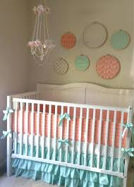 peach and gold bedding metallic gold peach and mint crib bedding set by on