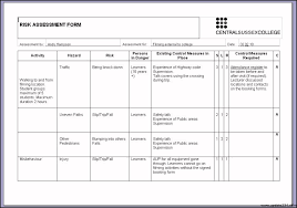 Sample Risk Assessment Form Professional Photos Template Examples ...