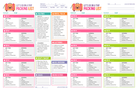 Packing List For Vacation Template Free Printable Lets Go On A Trip Packing List Hello