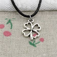 whole new fashion tibetan silver pendant lucky irish four leaf clover 20 13mm necklace choker charm black leather cord handmade jewelry white gold