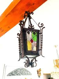 wrought iron lantern chandelier with stained glass and lead windows xv pendant lights