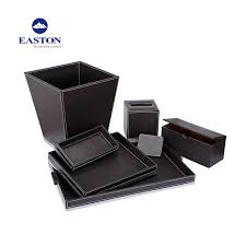 high quality hotel pu leather wooden tea box coffee box