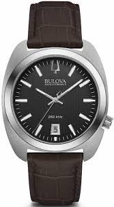 men s bulova accutron ii brown leather strap watch 96b253 loading zoom