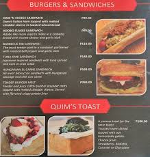 Quims Cake Bakeshop Cafe Menu Zomato Philippines