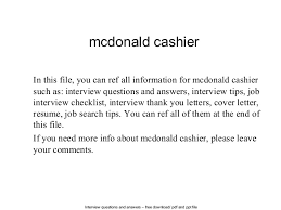 mcdonald cashierinterview questions and answers –      pdf and ppt file mcdonald cashier in this